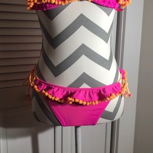 Victoria's Secret Swim - Victoria Secret bikini pink with orange Pom poms